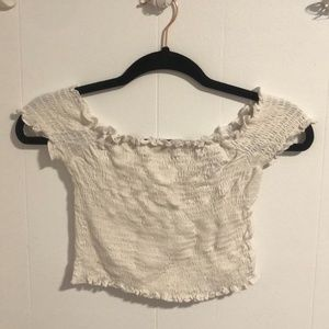 F21 RUCHED OFF THE SHOULDER TOP